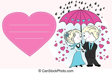 Couple in love standing under an umbrella in the rain,