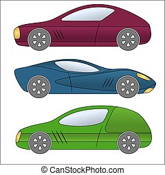 Set of different car types.