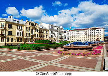 Minsk Street Sovetskaya - Soviet-built building on...