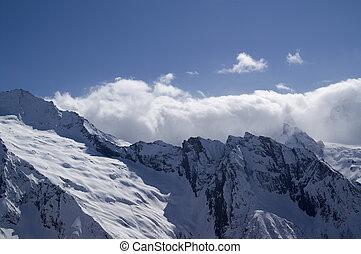 Glacier. Caucasus Mountains. Dombay