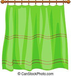Vector illustration of abstract Cartoon green curtains on...