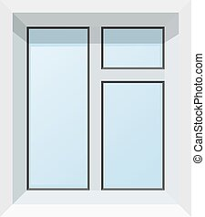 Vector illustration of abstract modern plastic windows. Realistic image of isolated box on white background.