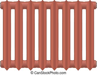 Vector illustration of a vintage cast-iron heat radiator red on a white background. Home heating element. Abstract thing home construction element