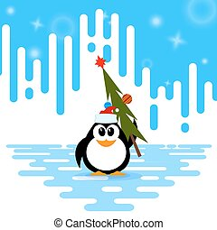 Vector illustration of a cute little penguin in the cap of Santa Claus, Christmas tree with