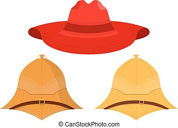 Vector illustration of hats on a white background. Isolated...