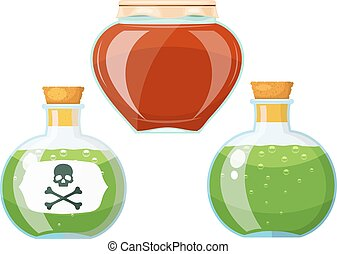 Set bottles with poison. Cardboard style. Vector illustration of a set of ancient glass vessels with poison.