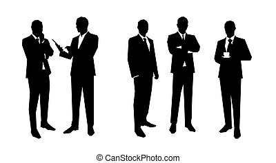 Business men silhouettes set in various poses. Flat vector...