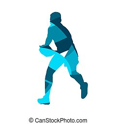 Rugby player running. Abstract blue vector silhouette