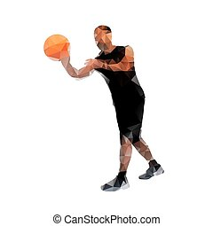 Polygonal basketball player, abstract vector silhouette