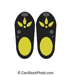 Clog shoes vector illustration. Black and green rubber clog...