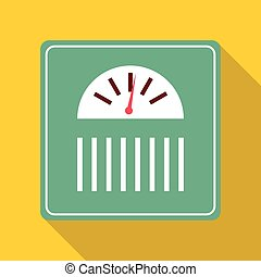 Green scale icon, flat style - Green scale icon. Flat...