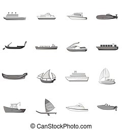 Ship and boat icons set, gray monochrome style - icons set....
