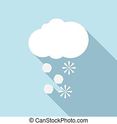 Snow and hail icon, flat style - Snow and hail icon. Flat...