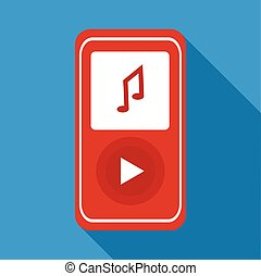 Red music player icon, flat style
