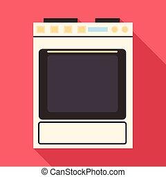 Gas stove icon, flat style - Gas stove icon. Flat...
