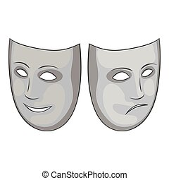 Happy and sad mask icon, gray monochrome style - Happy and...