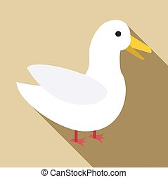 Goose icon, flat style - Goose icon. Flat illustration of...