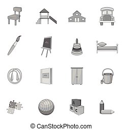 Kindergarten icons set, gray monochrome style - icons set....