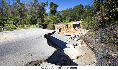 After Hurricane Matthew - Road and utility pipes washed away...