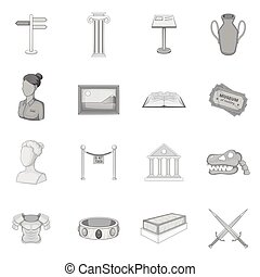 Museum icons set, gray monochrome style - icons set. Gray...