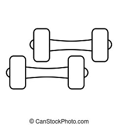 Two dumbbells icon, outline style