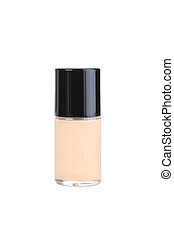 Liquid foundation in the bottle isolated on a white