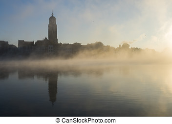 Deventer Ijssel and Fog - Deventer at the IJssel in the...