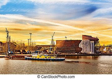Shipyard at sunrise