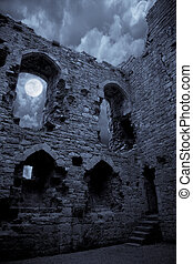Spooky castle - A very spooky castle in the moonlight, the...