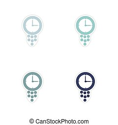Set of paper stickers on white background time is money
