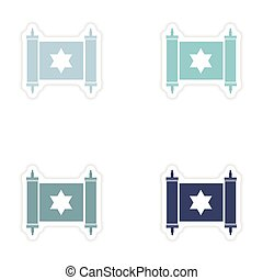 Set of paper stickers on white background scroll Torah - Set...