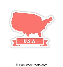paper sticker on white background united states map