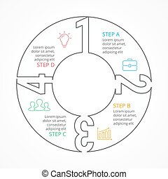 Vector circle numbers linear infographic - Circle arrows...