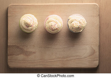 Cupcakes on Wood Overhead Retro Version