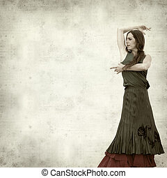 textured old paper background with flamenco dancer in ruins...