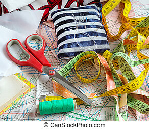 sewing supplies, tools - Sewing supplies and accessories on...