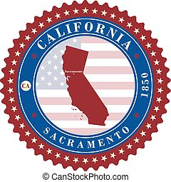 Label sticker cards of State California USA. Stylized badge...