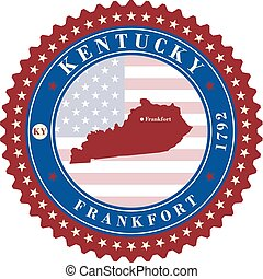 Label sticker cards of State Kentucky USA