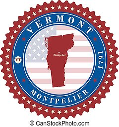 Label  sticker cards of State Vermont  USA.