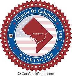 Label sticker cards of District of Columbia USA. Stylized...