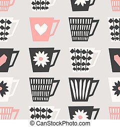 Seamless Coffee Cups Pattern - Mid-century style seamless...