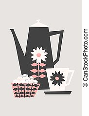 Retro Coffee Set - Mid-century style illustration of a...