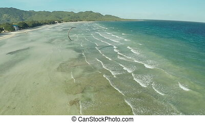 Kitesurfing on the coast of the Philippines. Aerial views