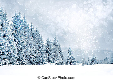 Christmas greetings background with snowflakes and fir trees...