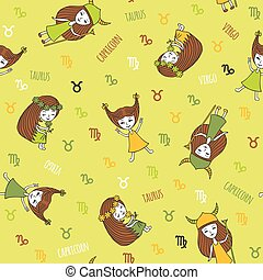 Cute seamless pattern with zodiac signs.