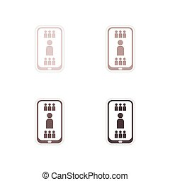 Set paper stickers on white background mobile phone...