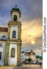 Jesuit Church in the old town of Lucerne - Switzerland
