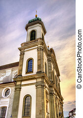 Jesuit Church in the old town of Lucerne - Switzerland -...