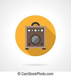 Guitar amplifier round color vector icon