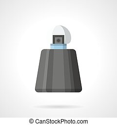 Perfumes for men flat color vector icon - Black bottle of...